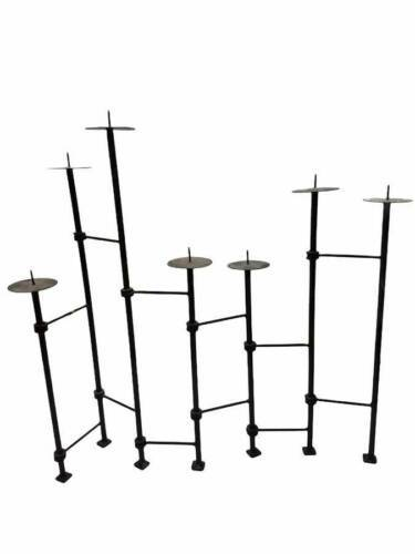 Wrought Iron Black Metal 7 Tiered Pillar Candle Folding Adjustable Holder
