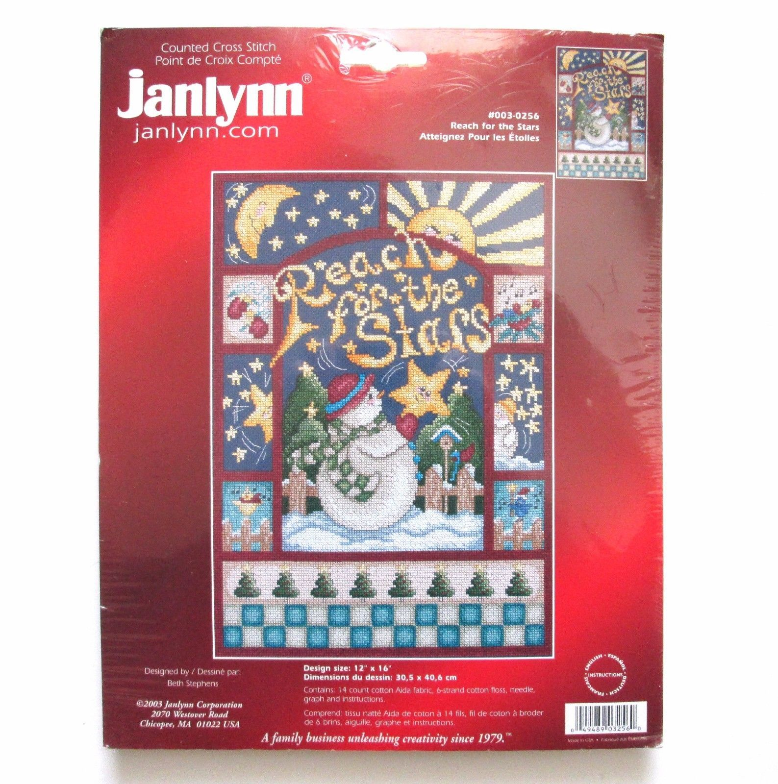 Janlynn Reach for the Stars Snowman Christmas Counted Cross Stitch Kit #003-0256