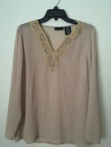 Apostrophe OFF-WHITE, Tan Beige beaded sheer TUNIC Top. Size: Misses Sma... - $17.99