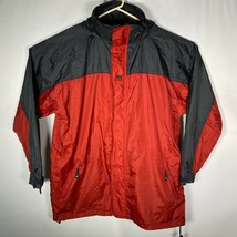 Helly Hansen Tech Mens Red Black Full Zip Nylon Packable Rain Jacket Sz XL - $32.40