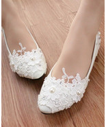 Women Ivory White lace bridal shoes/Garden Wedding Shoes/Beach Wedding S... - $38.00