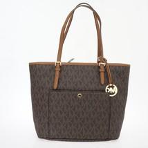 Michael Kors Signature Jet Set Item Medium Brown Tote Handbag Purse - $117.81