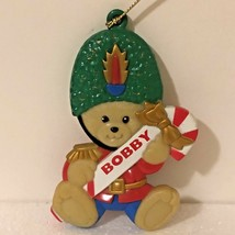 Stravina Inc Teddy Bear Soldier BOBBY Name Candy Cane Christmas Ornament... - $7.82