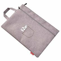 Retro Folder Expanding File Document File Pockets Canvas Zip Pocket Two-... - $19.88