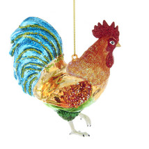 Rooster Noble Gems Glass Ornament - $21.95