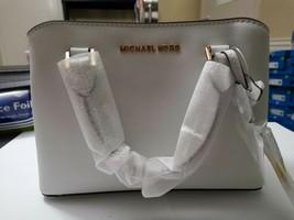 Michael Kors Savannah Small Satchel Crossbody Optic White Leather Bag $328 - $138.59
