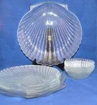 Vintage Heavy Textured Glass 8-Pc Shell Seashell Motif Dinner Plate Bowl... - $70.13