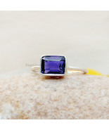 Natural Blue Iolite baguette 925 Silver Ring, Solitaire Ring, Delicate r... - $42.25