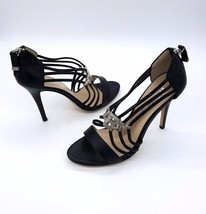 MICHAEL KORS Size 7 Black Leather Strappy Silve... - $49.99