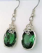 Emerald Silver Wire Wrap Earrings 2 - $35.00