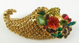 Vintage Retro Rhinestone Cornucopia Pin Brooch Marked Bauer Gold Tone - $59.00