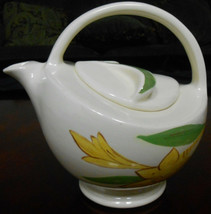 Red Wing ART DECO TEAPOT Hand Painted w/Yellow Florals MADE IN MINNESOTA - $49.49