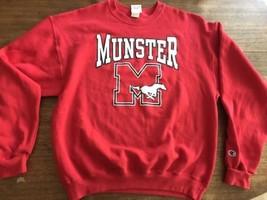 Munster Indiana High school Mustangs Champion Brand Sweatshirt Large Vin... - $25.64