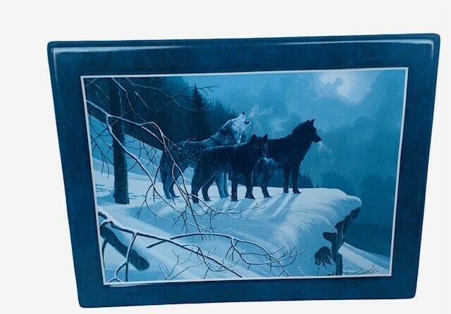 Bradford Exchange Collectors Plate Tile Wolf Figurine Moon Shadow Watchers pack - $28.98