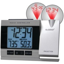 Atomic Projection Alarm Clock with Indoor & Outdoor Temperature  - $45.99