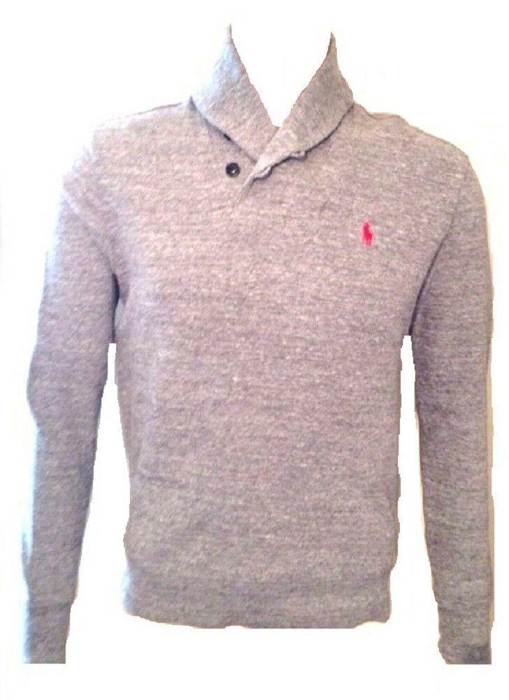 Ralph Lauren Jumper Shawl Neck Ribbed Light Grey Size XS Extra Small Mens - $74.19