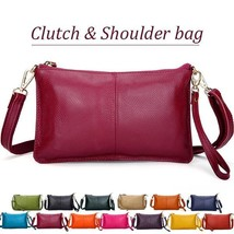 New fashion genuine leather women clutch bags organizer purse cowhide envelope e