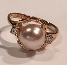 Seta Ring Gold Tone With Authentic Pearl and Cubic Zirconia Size 5.5 - £17.72 GBP