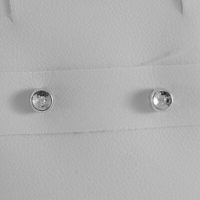 18K WHITE GOLD MINI ROUND EARRINGS DIAMOND DIAMONDS 0.04 CT, MADE IN ITALY