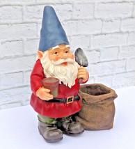 Garden Gnome Planter Shovel Planting Statue Figurine Landscaping Yard De... - $29.69