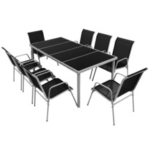 vidaXL Outdoor Dining Set 9 Pieces Table Chair Textilene Garden Furniture - $340.99