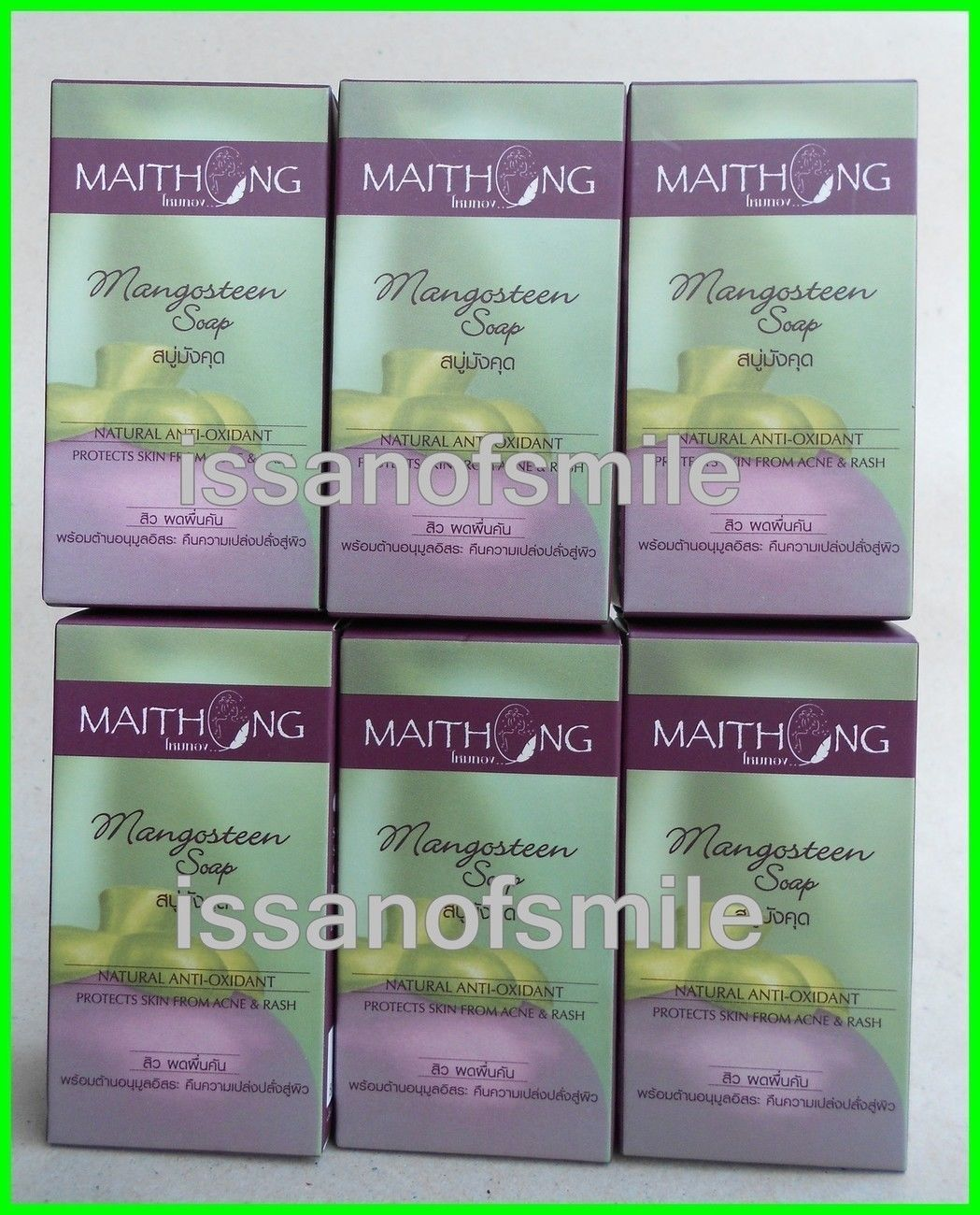6 x 100g. MAITHONG NATURAL MANGOSTEEN SOAP ACNE & RASH, WHITENS