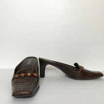 Franco Sarto Heeled Mules Size 8 1/2N Embossed Leather Upper Man Made Sole - $24.75
