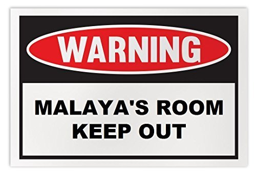 Personalized Novelty Warning Sign: Malaya's Room Keep Out - Boys, Girls, Kids, C