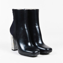 Dries Van Noten NIB Black Leather & Jacquard Crystal Embellished Boots S... - $685.00