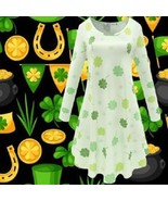 St Patricks Day Women's Dress Long Sleeve Shamrock Print Casual Flare Sw... - $29.65