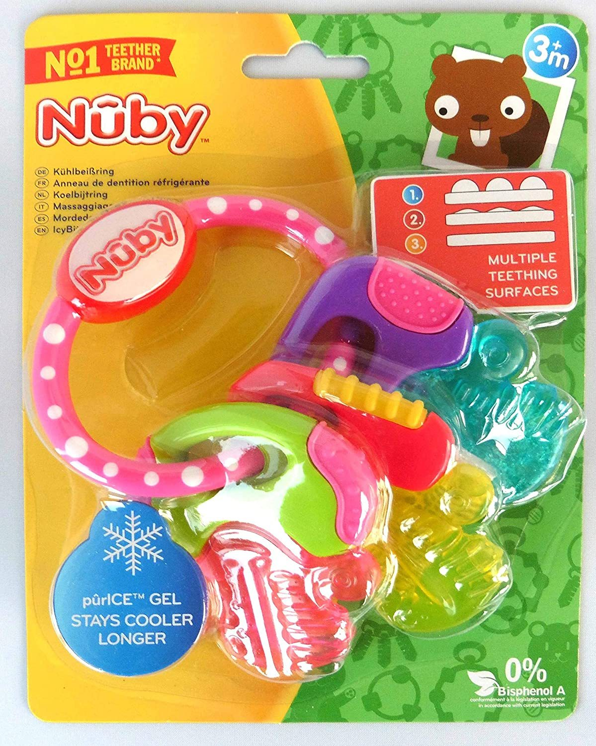 Primary image for Nuby Ice Gel Teether Keys, 1 pack Pink