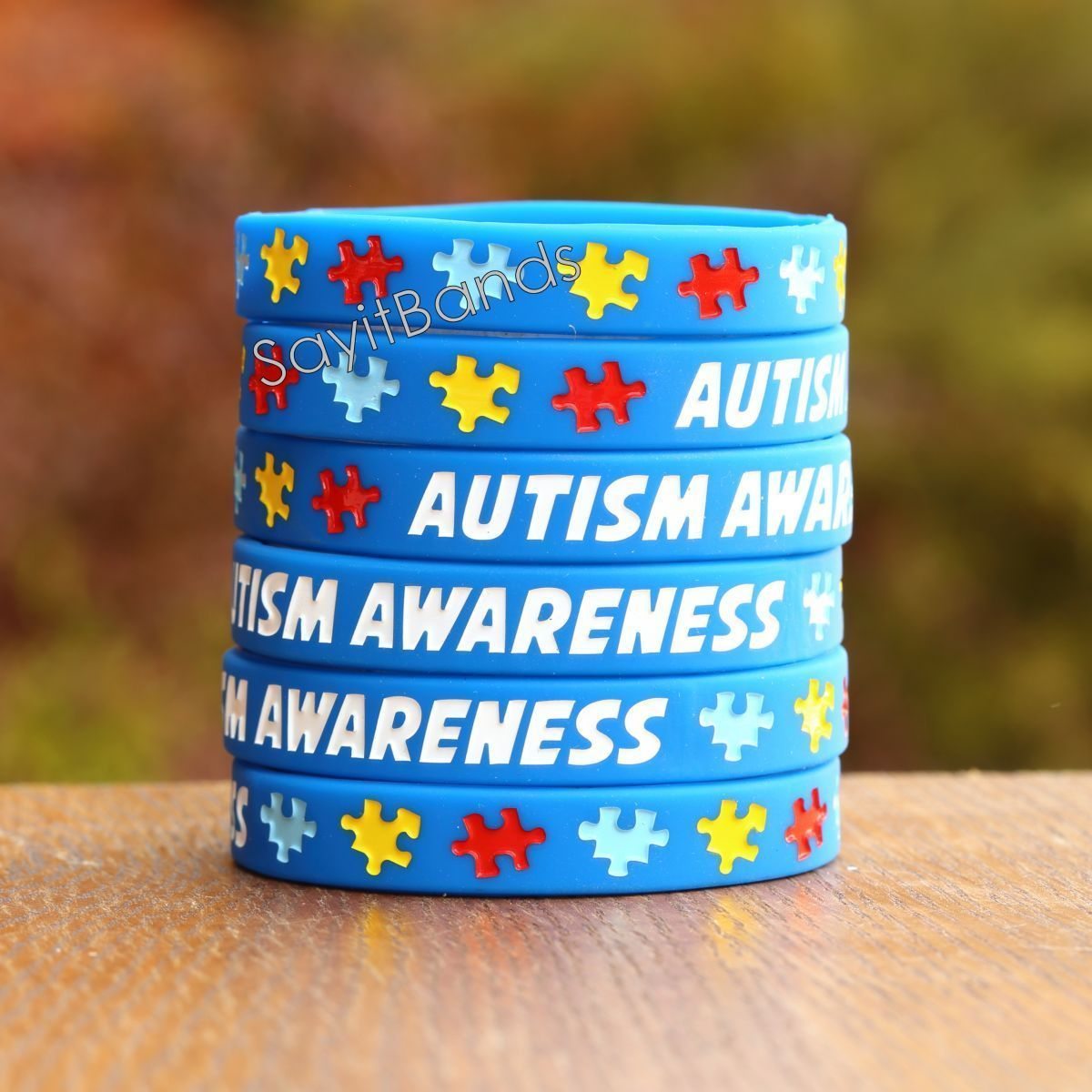 Primary image for 100 Autism Awareness Wristbands - Adult and Child Size Bracelets Available Now