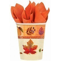 Watercolor Leaves Fall Autumn Thanksgiving Holiday Party 9 oz. Paper Cups - $10.45