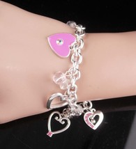 Sweetheart Charm bracelet - pink hearts - rhinestone jewelry - bridesmai... - $55.00