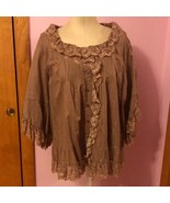 Denim 24/7 Women's Tan Blouse Top 22W Lace Trim and Buttons - $29.97