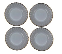 "Fire King Anchor Hocking White Swirl Set of 4 Bread Plates 7 3/8"" Vtg - $13.85"
