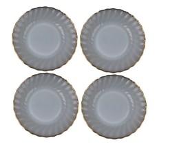 """Fire King Anchor Hocking White Swirl Set of 4 Bread Plates 7 3/8"""" Vtg - $13.85"""