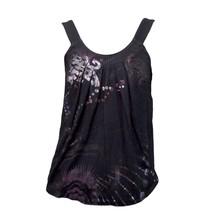 Express Womens Black Metallic Purple Print Casual Scoop Neck Tank Top S - $11.88