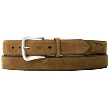"U-4-32 32"" Nocona Overlay 1-1/2"" Wide Leather Mens Belt W/ Silver Buckle Brown - $32.95"