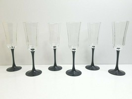 "6 Luminarc Black Stem 8 1/2"" Octagon Panel Wine Champagne Elegant France... - $45.21"