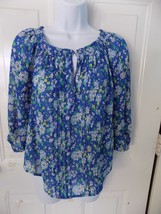 Abercrombie & Fitch Blue & White Floral  Print Blouse Size S Women's NWOT - $23.76
