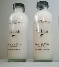 Scottish Fine Soaps AU LAIT Bathing Milk 15.5oz LARGE glass milk bottle ... - $18.66