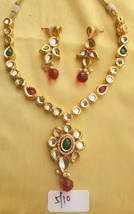 Kundan Necklace Set Gold Pendant Cz Color Stone Indian Fashion Designer Jewelry - $20.15