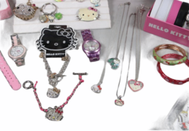 Large Sanrio Hello Kitty Assorted Jewelry Accessories Lot Watch Necklace Bank image 9