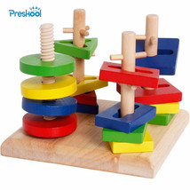 Kids Wooden Twister Puzzle Teaser Brain Contest Clever Cube Wood Mind Sh... - $25.15