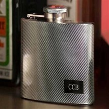 Engraved Textured 4 oz. Stainless Steel Flask Engraved Gifts Personalize... - $22.02