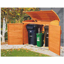 Outdoor Solid Wood Storage Shed Trash Garbage Holder Locking Doors All W... - $232.12