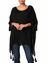 Steve Madden Women's New On-the-Go Tassel Poncho (Black) - $24.90