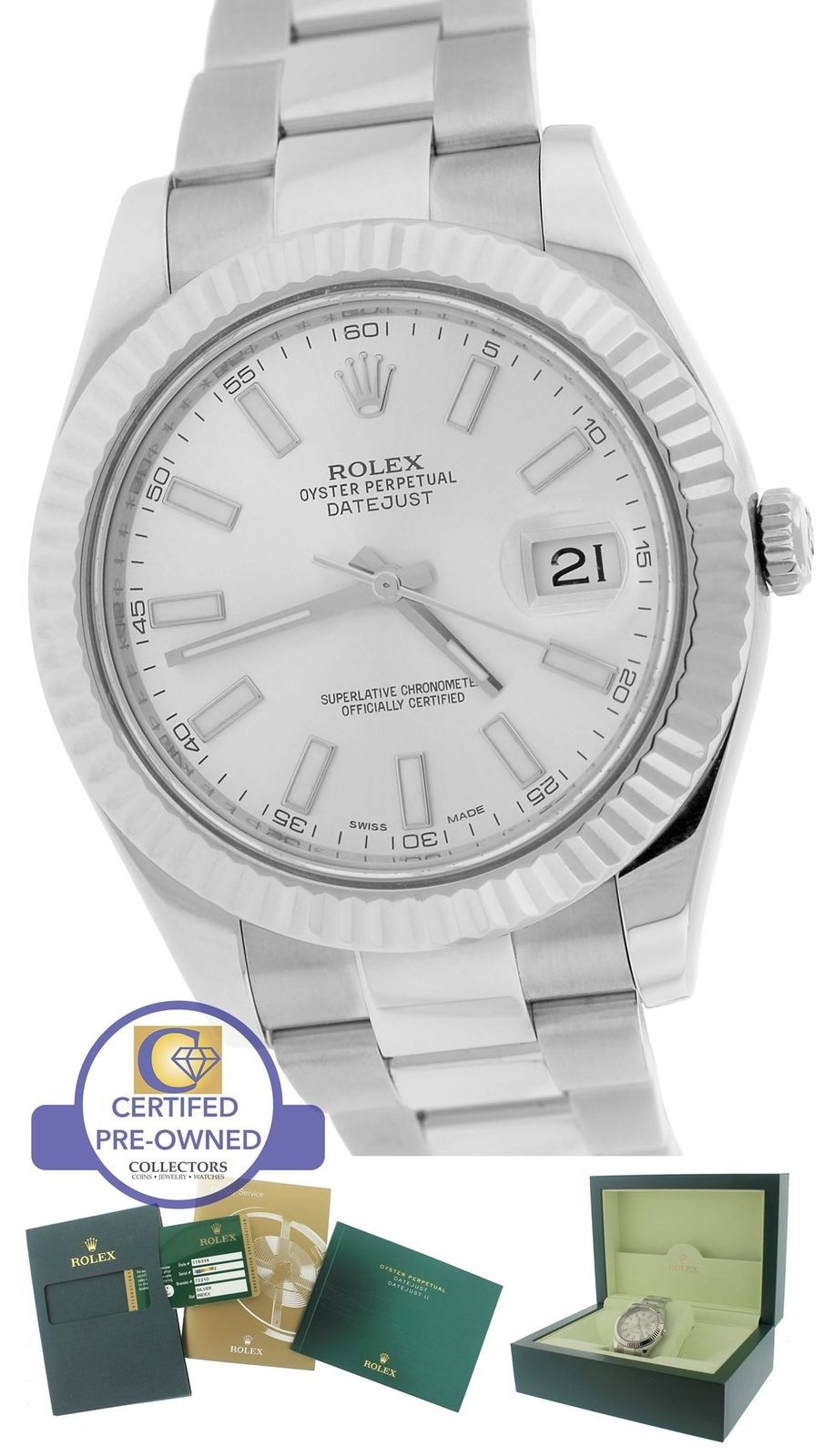 MINT 2014 Rolex Datejust II 2 Silver 41MM 116334 Stainless 18K White Gold Watch