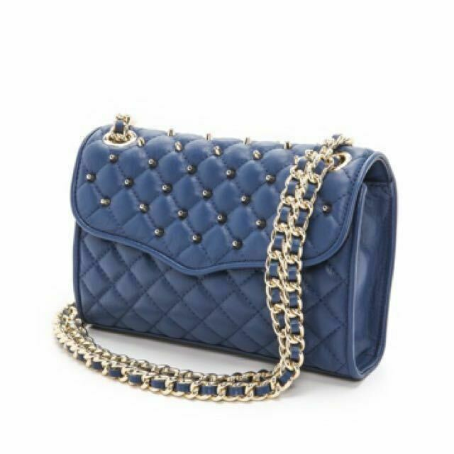 Rebecca Minkoff Quilted Studded Mini Affair Navy Long Chain Strap Gold New - $125.73